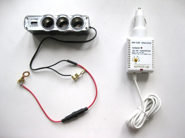Multi-socket car adapter  and DC-DC converter