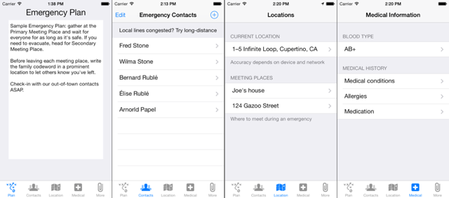 A digital emergency plan card: Emergency Plan for iPhone