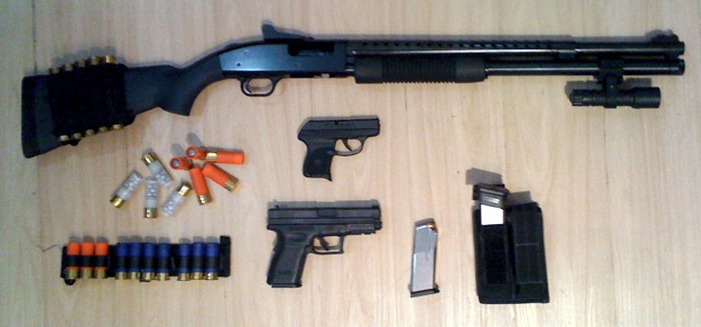 Shotgun and pistol with ammunition