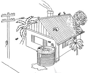 Image of homestead in Hawaii with rainwater catchment system