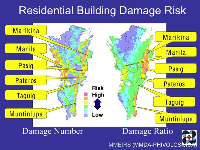 Map showing residential building damage risk
